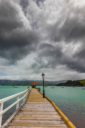 Dock in Akaroa, New Zealand